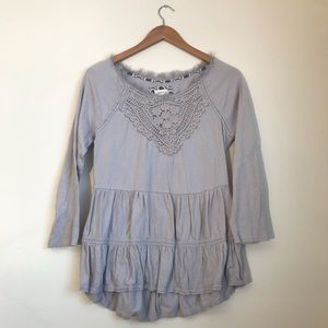 Anthro Meadow Rue Gray Peasant Blouse